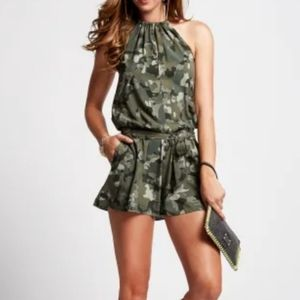 Guess Camouflage Print Halter Romper